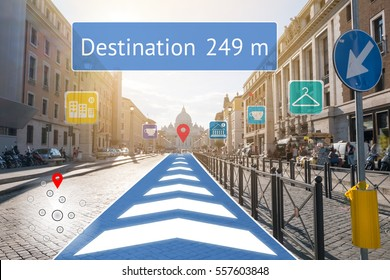 Augmented reality technology , Virtual Navigation concept. Graphic of AR application screen to show destination place.