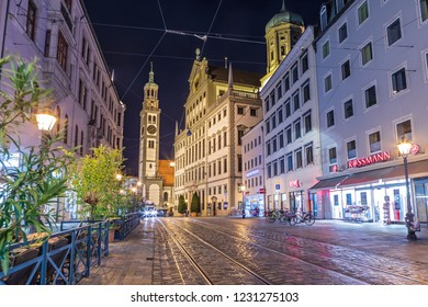 AUGSBURG, BAVARIA, GERMANY - CIRCA OCTOBER, 2018: Night view of cityscape of Augsburg in Bavaria, Germany