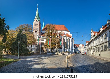 AUGSBURG, BAVARIA, GERMANY - CIRCA OCTOBER, 2018: The Cathedral of Augsburg (German: Dom Maria Heimsuchung) is a Roman Catholic church in Augsburg, Bavaria, Germany
