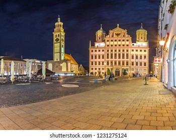 AUGSBURG, BAVARIA, GERMANY - CIRCA OCTOBER, 2018: Night view of Rathausplatz of Augsburg in Bavaria, Germany