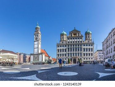 AUGSBURG, BAVARIA, GERMANY - CIRCA OCTOBER, 2018: The Rathausplatz of Augsburg in Bavaria, Germany