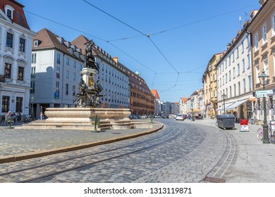 AUGSBURG, BAVARIA, GERMANY - CIRCA OCTOBER, 2018: The Maximilianstrasse of Augsburg in Bavaria, Germany
