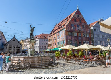 AUGSBURG, BAVARIA, GERMANY - CIRCA OCTOBER, 2018: The Weberhaus of Augsburg in Bavaria, Germany