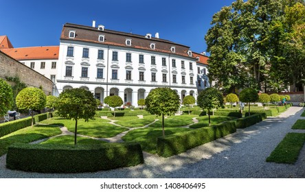 AUGSBURG, BAVARIA, GERMANY - CIRCA OCTOBER, 2018: The garden of Schaezlerpalais in Augsburg, Bavaria, Germany