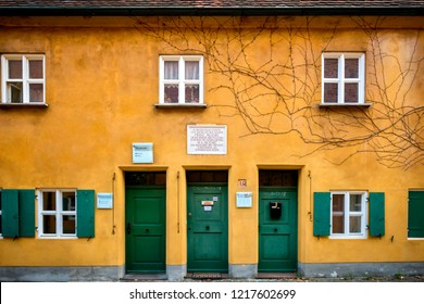 Augsburg: Fuggerei, October 26, 2018. On the house n. 14 of the Fuggerei a commemorative plaque recalls Franz Mozart, Wolfgang Amadeus Mozart's great-grandfather. Bavaria, Germany