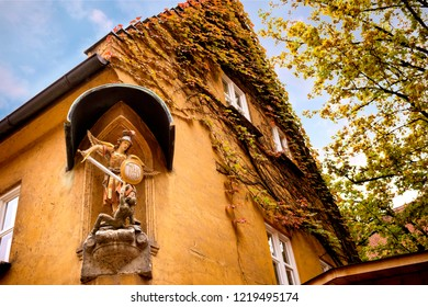 Augsburg: Fuggerei, October 26, 2018. The world oldest social housing. Bavaria, Germany