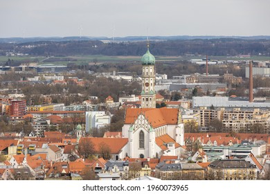 Augsburg, Germany - apr 9th 2021: Augsburg in Bavaria is a historical town originated from Roman era. City name originates from Roman emperor Augustus.