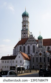 Augsburg, Germany - April 1, 2019: Basilica St. Ulrich and Afra in Augsburg's city center