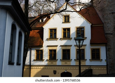 Augsburg, Germany - April 1, 2019: White/yellow building in Augsburg's city center