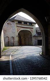 Augsburg, Germany - April 1, 2019: Rotes Tor (Translation: Red Gate) in Augsburg's city center