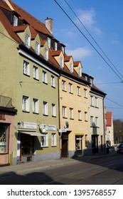 Augsburg, Germany - April 1, 2019: Buildings on the Milchberg (Translation: Milk Mountain) in Augsburg's city center