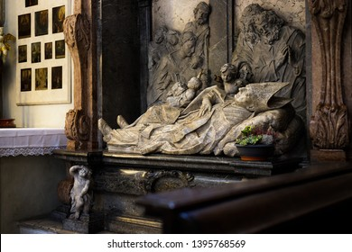 Augsburg, Germany - April 1, 2019: Sculpture of St. Simpert in the Basilica St. Ulrich and Afra in Augsburg's city center