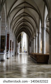 Augsburg, Germany - April 12, 2019: Aisle of the Augsburger Dom (Translation: Cathedral of Augsburg)