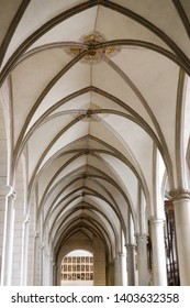 Augsburg, Germany - April 12, 2019: Aisle with archways in the Augsburger Dom (Translation: Cathedral of Augsburg)