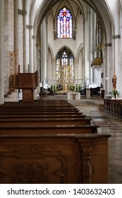 Augsburg, Germany - April 12, 2019: Interior of the Augsburger Dom (Translation: Cathedral of Augsburg)