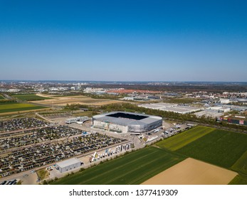 Augsburg, Germany - April 20,2019: Aerial view of WWK arena - the official football stadium of FC Augsburg - during the Bundesliga (national league) match between FC Augsburg and VfB Stuttgart which