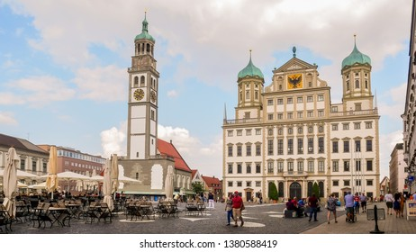 Augsburg, Germany - August 15, 2018 : View of Augsburg's Town Hall and St. Peter am Perlach Church