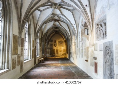 Augsburg, Germany - January 16, 2016: Gothic medieval crypt in the Cathedral of Augsburg. Cathedral was founded in the 11th century in Romanesque style.