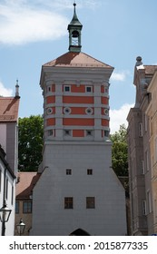 Augsburg, Germany - July 2, 2021: The medieval Rotes Tor (Red Gate), which was part of the city's fortifications.