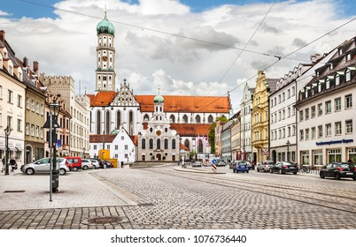 Augsburg, Germany - May 09, 2017: Augsburg town hall with Perlach Tower (Perlachturm). Augsburg is one of the oldest cities of Germany.