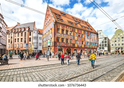 Augsburg, Germany - May 09, 2017: Old town with Weberhaus house in Augsburg. Augsburg is one of the oldest cities of Germany.
