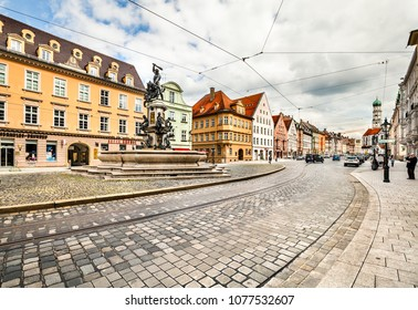 Augsburg, Germany -May 09, 2017: The Herkules fountain on MaximilianstraÃ?e in Augsburg, built 1600. Germany