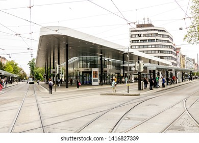 Augsburg, Germany - May 18, 2019:  Modern bus station at the Koenigsplatz in Augsburg, Germany