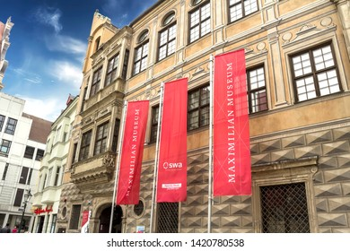 Augsburg, Germany - May 18, 2019: Maximilian Museum in Augsburg. Augsburg is a city in Swabia, Bavaria, it is third oldest city in Germany