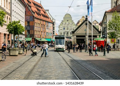 Augsburg, Germany - May 18, 2019: Marketplace of Augsburg. Augsburg is the third-largest city in Bavaria