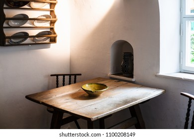 AUGSBURG, GERMANY - MAY 20, 2018: cook room in Fuggerei housing in Augsburg town. Augsburg is a city in Swabia, Bavaria, it is third oldest city in Germany