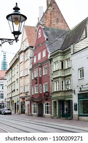 AUGSBURG, GERMANY - MAY 20, 2018: old urban houses on Frauentorstrasse street in Augsburg town. Augsburg is a city in Swabia, Bavaria, it is third oldest city in Germany
