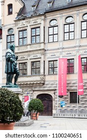 AUGSBURG, GERMANY - MAY 20, 2018: statue of Hans Jakob Fugger near palace of Maximilian Museum in Augsburg town. Augsburg is a city in Swabia, Bavaria, it is third oldest city in Germany
