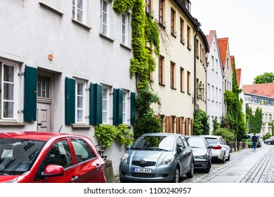 AUGSBURG, GERMANY - MAY 20, 2018: old residential quarter on Kirchgasse street in Augsburg town. Augsburg is a city in Swabia, Bavaria, it is third oldest city in Germany