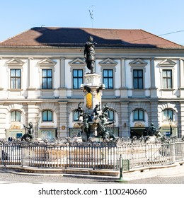AUGSBURG, GERMANY - MAY 21, 2018: view of Augustusbrunnen (Augustus) fountain on Rathausplatz square in Augsburg town. Augsburg is a city in Swabia, Bavaria, it is third oldest city in Germany