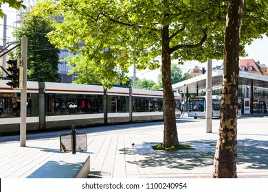 AUGSBURG, GERMANY - MAY 21, 2018: urban transport in Augsburg town near Koenigsplatz square . Augsburg is a city in Swabia, Bavaria, it is third oldest city in Germany