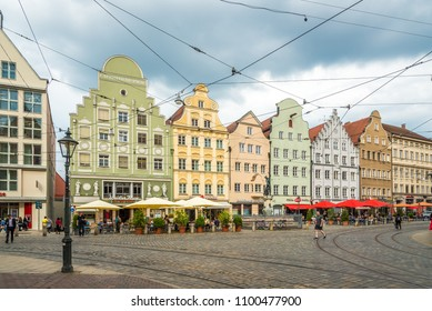 AUGSBURG, GERMANY - MAY 23,2018 - Colored houses in the streets of Augsburg. Augsburg is the third-largest city in Bavaria.