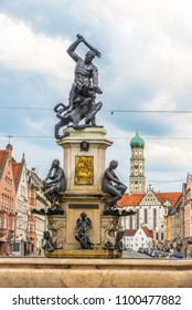 AUGSBURG, GERMANY - MAY 23,2018 - Fountain of Hercules in the streets of Augsburg. Augsburg is the third-largest city in Bavaria.