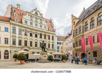 AUGSBURG, GERMANY - MAY 23,2018 - Hans Jakob Fugger statue in the streets of Augsburg. Augsburg is the third-largest city in Bavaria.