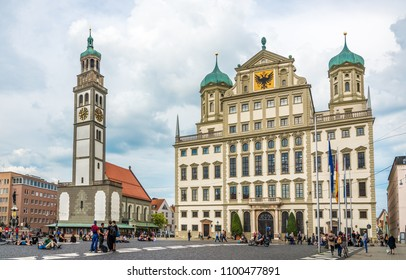 AUGSBURG, GERMANY - MAY 23,2018 - Perlach tower and City hall building at the Marketplace of Augsburg. Augsburg is the third-largest city in Bavaria.