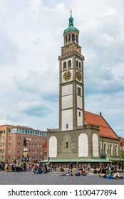 AUGSBURG, GERMANY - MAY 23,2018 - Perlach tower at the Marketplace of Augsburg. Augsburg is the third-largest city in Bavaria.