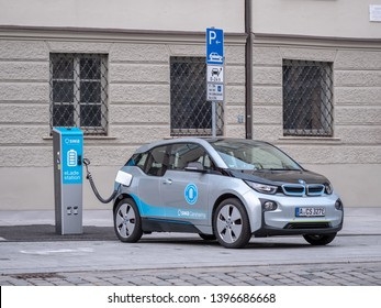 Augsburg, Germany - May 7, 2019: BMW I3 is charging electricty at a charging station on a special location in the city