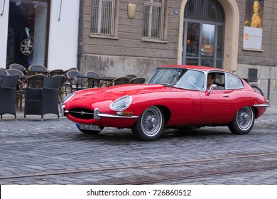 Augsburg, Germany - October 1, 2017: Jaguar E-Type oldtimer car at the Fuggerstadt Classic 2017 Oldtimer Rallye on October 1, 2017 in Augsburg, Germany.