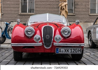 Augsburg, Germany - October 1, 2017: Jaguar oldtimer car at the Fuggerstadt Classic 2017 Oldtimer Rallye on October 1, 2017 in Augsburg, Germany.