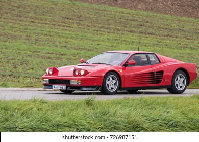 Augsburg, Germany - October 1, 2017: Ferrari Testarossa oldtimer car at the Fuggerstadt Classic 2017 Oldtimer Rallye on October 1, 2017 in Augsburg, Germany.