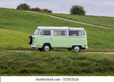 Augsburg, Germany - October 1, 2017: Volkswagen Type 2 T2 oldtimer car at the Fuggerstadt Classic 2017 Oldtimer Rallye on October 1, 2017 in Augsburg, Germany.