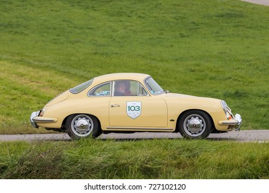 Augsburg, Germany - October 1, 2017: Porsche 356 oldtimer car at the Fuggerstadt Classic 2017 Oldtimer Rallye on October 1, 2017 in Augsburg, Germany.