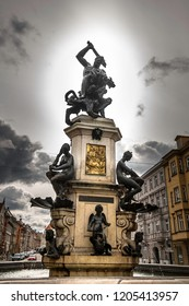 Augsburg, Germany, October 2, 2018. View on The Herkulesbrunnen (Hercules fountain) in Augsburg