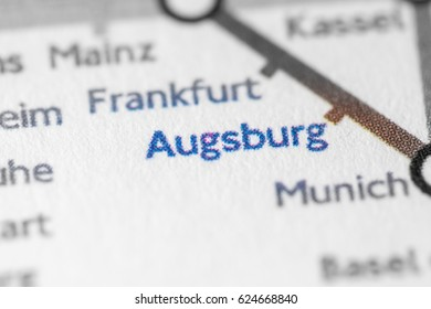 Augsburg, Germany on a geographical map.
