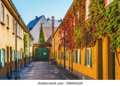 Augsburg, Germany - September 08, 2016: Fuggerei - the world oldest social housing, Augsburg, Germany