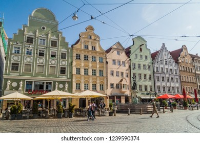 AUGSBURG, GERMANY - SEPTEMBER 16, 2016: View of old houses lining Maximilianstraße street in Augsburg